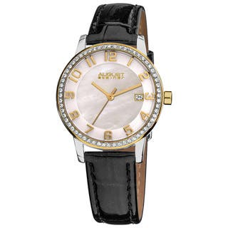 August Steiner Women's Swiss Quartz Mother of Pearl Crystal Strap Watch with Gold-Tone Hands with FREE GIFT - Black/White (Option: Gold)|https://ak1.ostkcdn.com/images/products/7737928/7737928/August-Steiner-Womens-Swiss-Quartz-Mother-of-Pearl-Crystal-Strap-Watch-P15137539.jpg?impolicy=medium