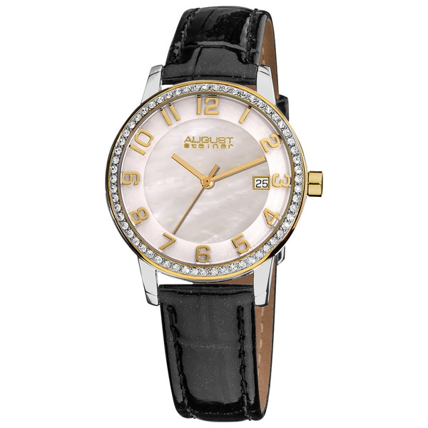 August Steiner Women's Swiss Quartz Mother of Pearl Crystal Strap Watch with Gold-Tone Hands - black