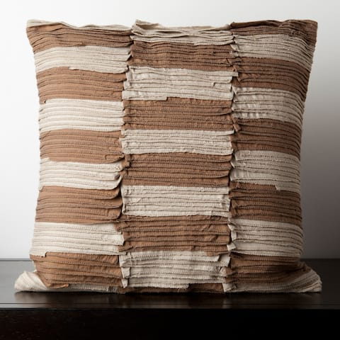 Cait Brown and Beige Pleated 22-inch Decorative Feather Down Pillow