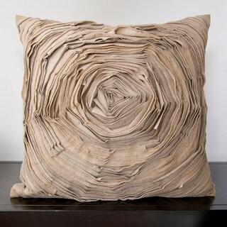 Cailin Tan Rose Ruffle 18x18-inch Decorative Pillow