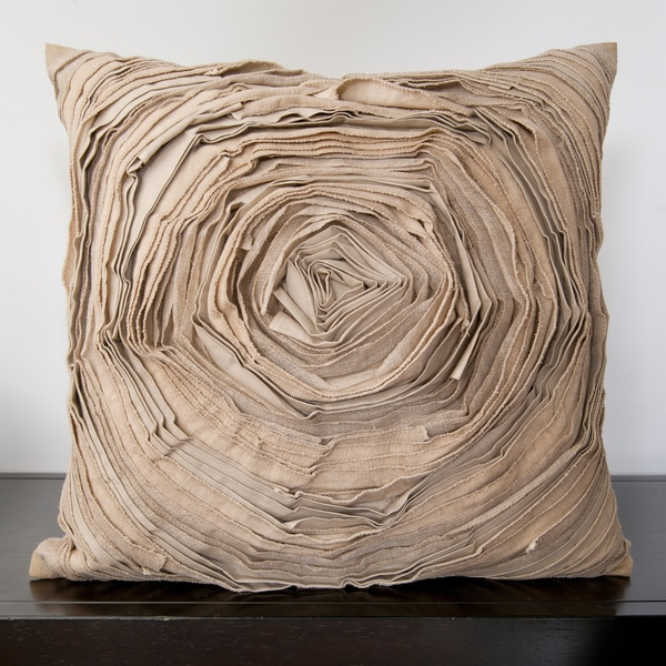 Cailin Tan Rose Ruffle 18-inch Decorative Pillow