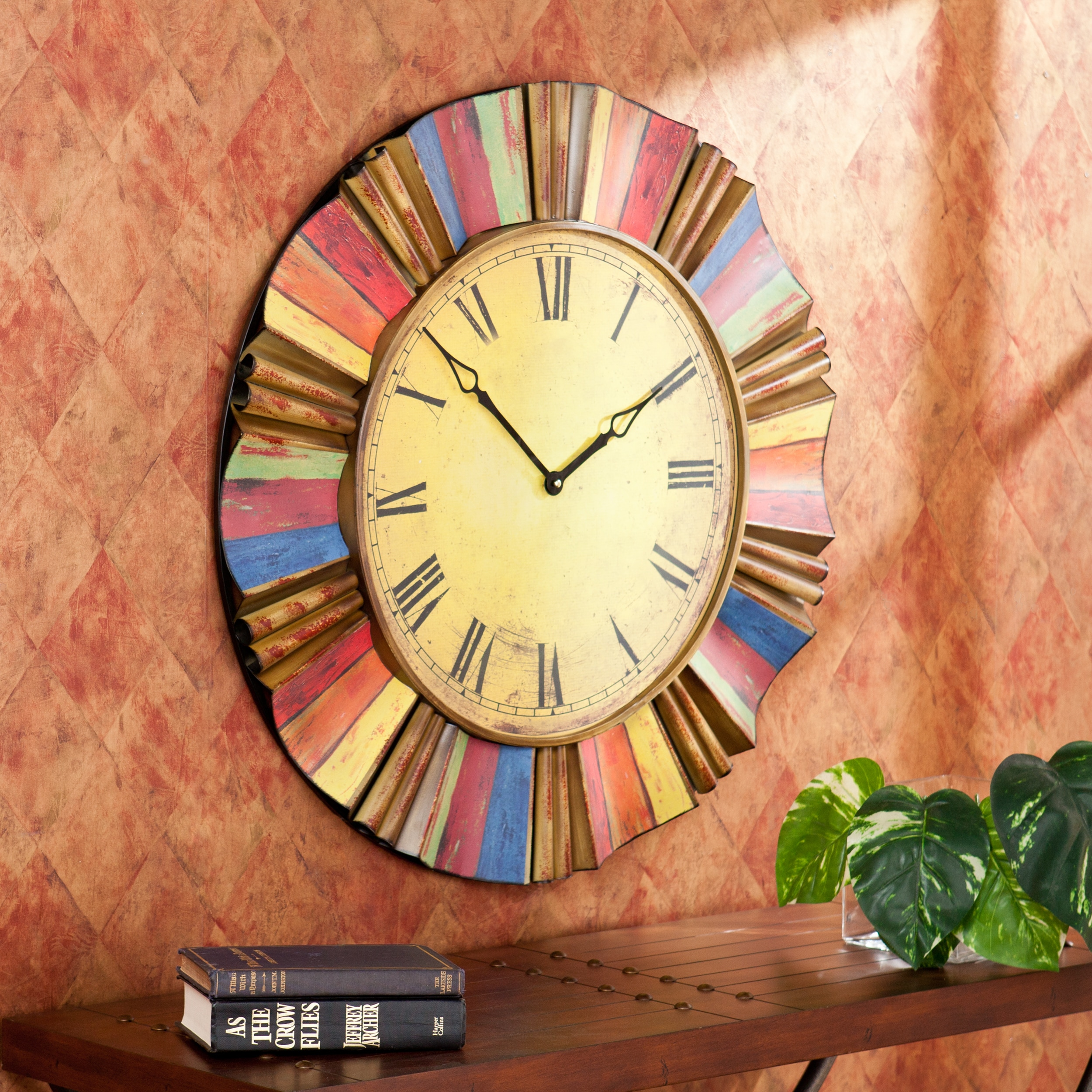 Curated Nomad Belli Decorative Round Wall Clock Metal Roman Numeral ...