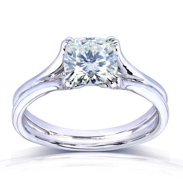 Annello by Kobelli 14k White Gold 1 1/10ct Cushion-cut Moissanite Solitaire Split Shank Engagement Ring (6mm)