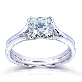 Annello by Kobelli 14k Gold Cushion-cut Moissanite Solitaire Split Shank Ring