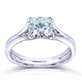 Annello by Kobelli 14k White Gold 1 1/10ct Cushion-cut Near Colorless H-I Moissanite (6mm) Solitaire Split Shank Engagement Ring