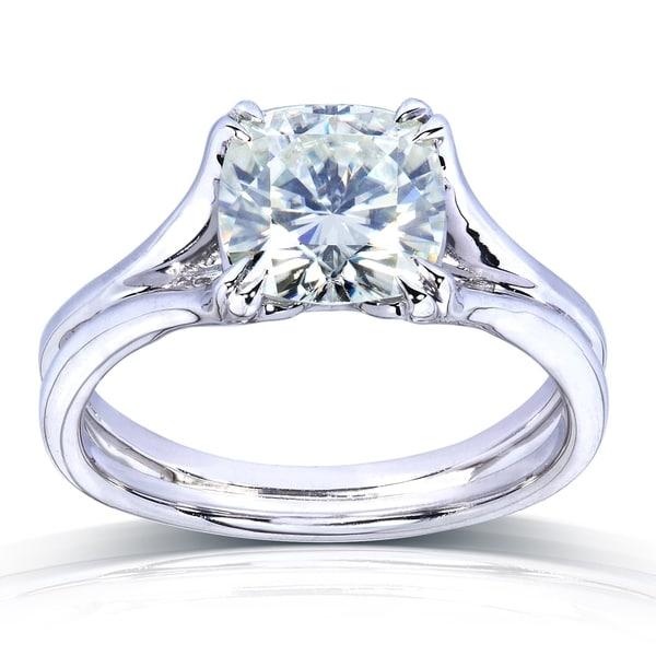 Annello by Kobelli 14k White Gold 2ct Cushion-cut Moissanite (HI) Solitaire Split Shank Engagement Ring (7.5mm)