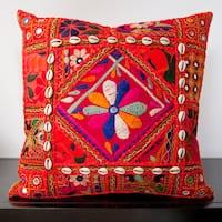 Calista Orange Embroidered 18x18-inch Decorative Down Pillow