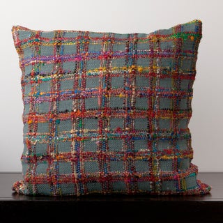 Emily Blue Grey Plaid 22x22-inch Decorative Down Pillow