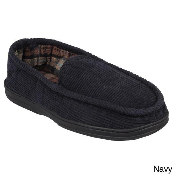 Boston Traveler Men's Lined Corduroy Moccasin Slipper Shoes