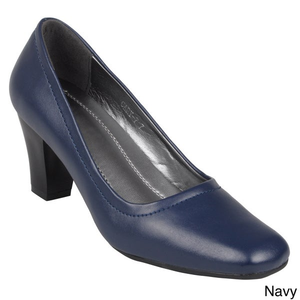 Journee Collection Women's 'Cary-7' Faux Leather Square Toe Pump