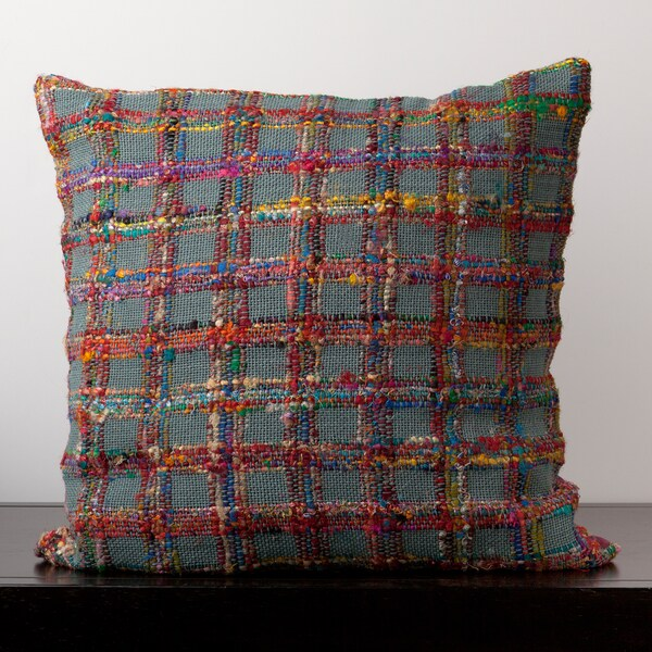 Emily Blue Grey Plaid 22x22-inch Decorative Pillow