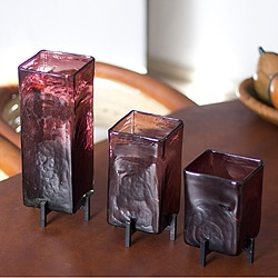 Amethyst Hurricane Lamp or Vase Purple Glass with Wrought Iron Base Set of Three Unique Artisan Handblown Candleholders (Mexico)