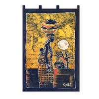 Handcrafted 'Woman from the Lakeside' Batik Wall Hanging (Ghana)