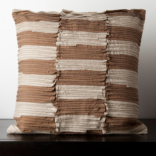 Cait Brown/Beige Pleated 18x18-inch Decorative Down Pillow