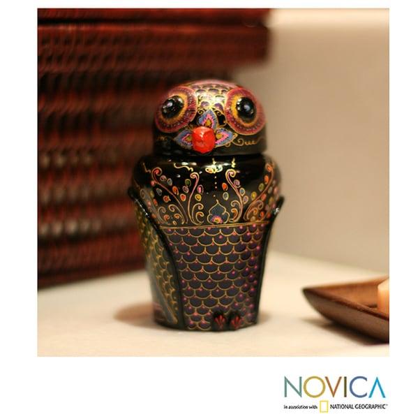 Mango Wood 'Owl and Its Secrets' Lacquered Box (Thailand)