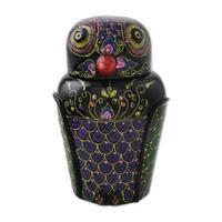 Handmade Owl and Its Secrets Lacquered Mango Wood Box (Thailand)