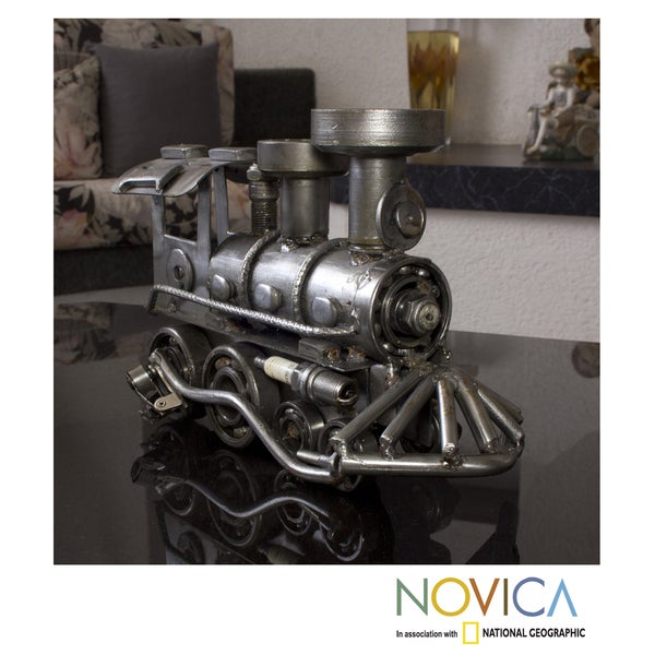Handmade Recycled Auto Part 'Rustic Locomotive' Sculpture (Mexico)