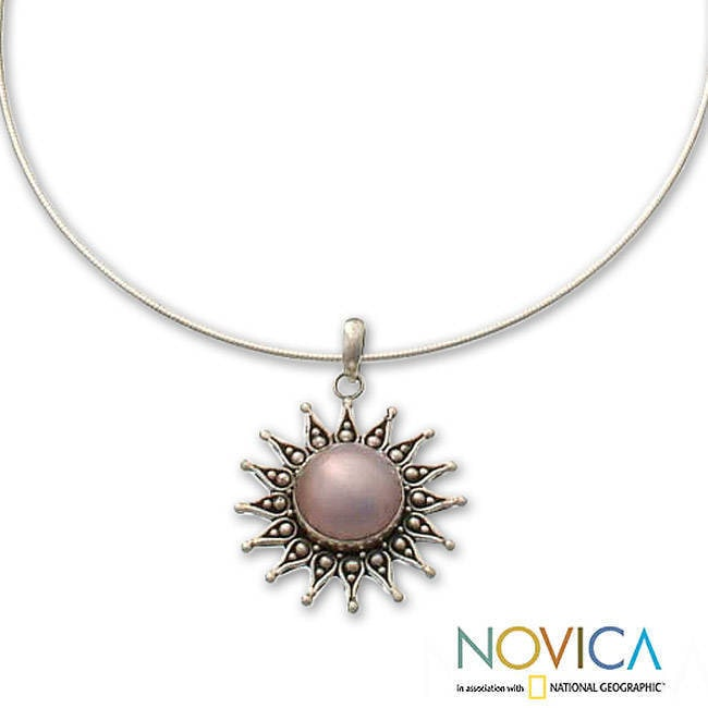 NOVICA Silver White Cultured Freshwater Pearl Sterling Silver Necklace Small White Passion Fruit