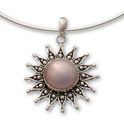 Handmade Sterling Silver 'Pink Sun' Cultured Pearl Necklace (15 mm) (Indonesia)