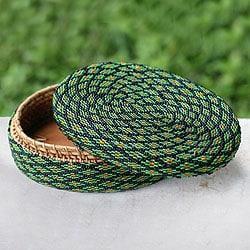 Handmade Beaded Rattan 'Emerald Forest' Basket (Indonesia)