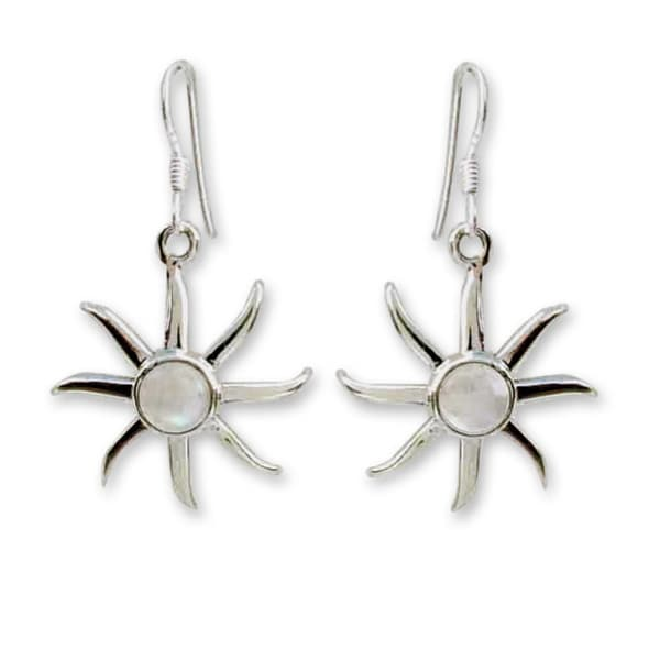 Handmade Sterling Silver 'Rainbow Sun' Moonstone Earrings (India)