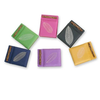 Set of 6 Handmade Natural Fiber 'Happy Leaf' Notebooks (Indonesia)