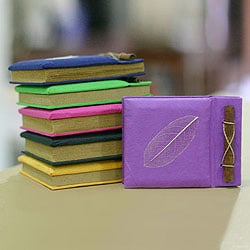 Set of 6 Handcrafted Natural Fiber 'Happy Leaf' Notebooks (Indonesia)