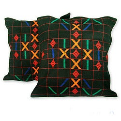 Handmade Set of 2 Cotton 'Mystical Algorithm' Cushion Covers (India)