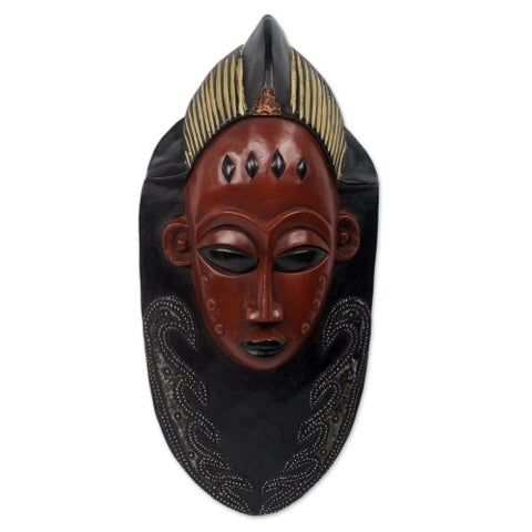 Supremacy Handmade Artisan Tribal Artwork Black Sese Wood with Multicolor Paint and Aluminum African Wall Art Mask (Ghana) - Red