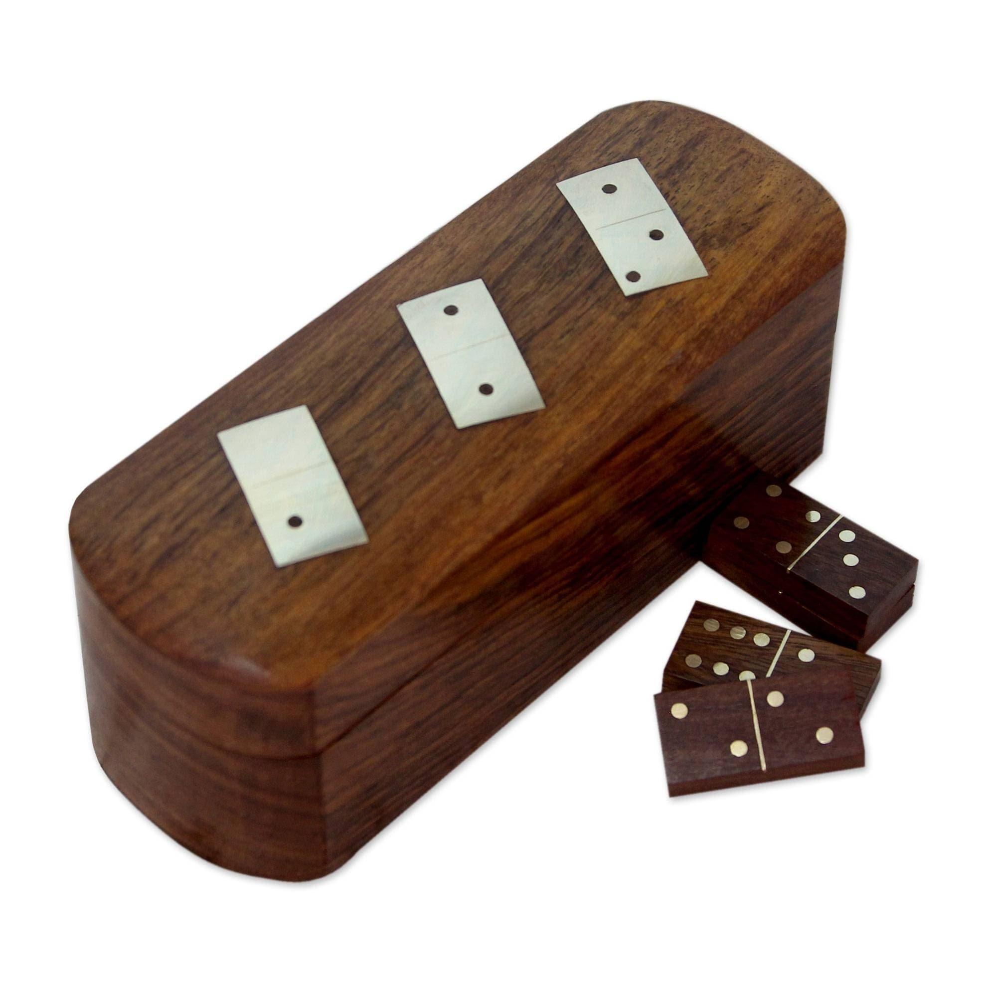 Indian Handmade Dominoes Set /& Storage Box Brass Inlay