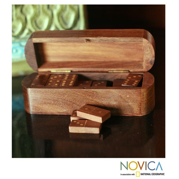 Handcrafted Seesham Wood `Strategies` Box and Dominoes (India)