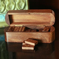 Board Game Night Ready Strategies Handcrafted Brown Seesham Wood and Brass Inlay Decorator Storage Box and Dominoes Set (India)