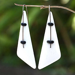 Sterling Silver 'Yasawa Beach' Bone Drop Earrings (Indonesia)