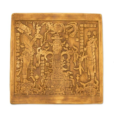 Handmade Maya Foliated Cross Ceramic Plaque (Mexico)