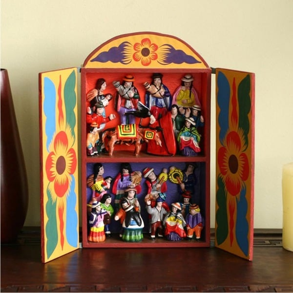 Handmade Plywood and Ceramic 'Yawar Fiesta' Retablo (Peru)