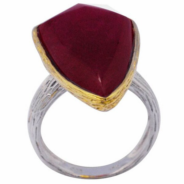 De Buman 18k Yellow Gold and Sterling Silver Ruby Ring