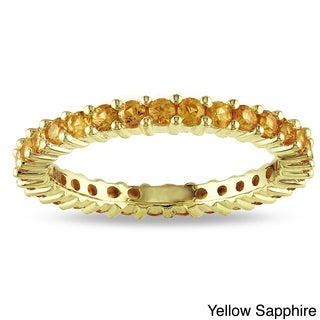 Miadora 14k Gold Gemstone Stackable Eternity Ring (More options available)