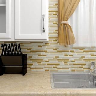 SomerTile 11.75x11.75-inch View Dakar Piano Glass Mosaic Wall Tile (Case of 17)