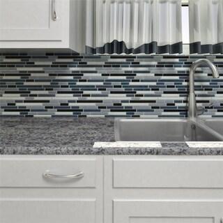 SomerTile 11.75x11.75-inch View Marina Piano Glass Mosaic Wall Tile (17 tiles/16.32 sqft.)