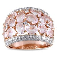Miadora Sterling Silver Rose Quartz and 1/14 ct. TDW Diamond Ring