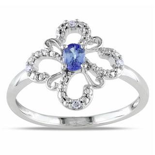 Miadora 10k White Gold Tanzanite and Diamond Ring