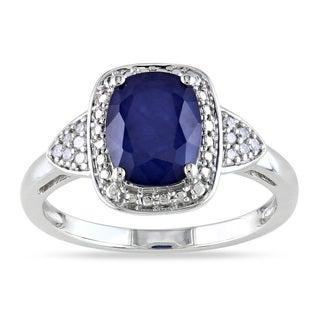 Miadora 10k White Gold Sapphire and Diamond Ring