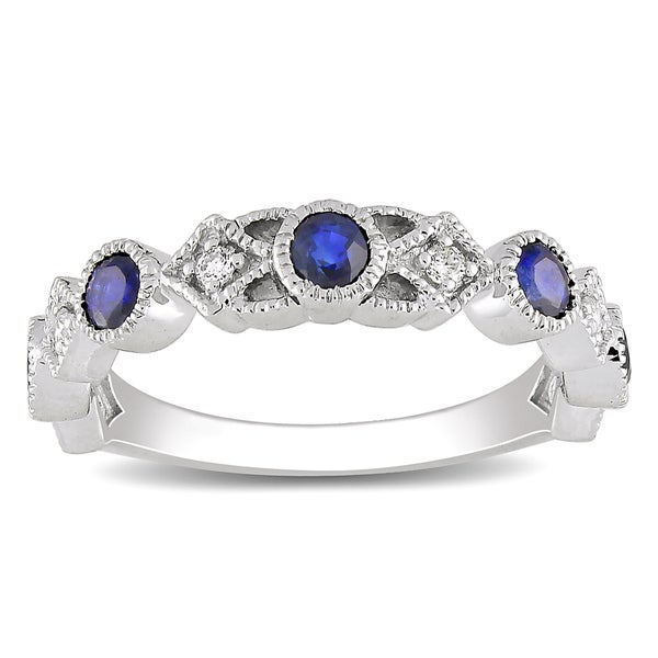 Miadora 14k Gold Sapphire and 1/10ct TDW Diamond Ring (G-H, SI1-SI2)
