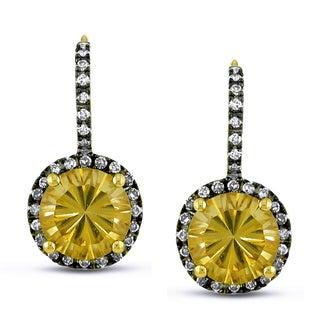 Miadora 14k Yellow Gold Citrine and 1/4ct TDW Diamond Earrings (G-H, I1-I2)