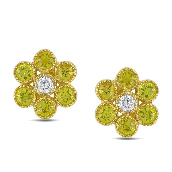 Miadora 14k Gold Sapphire and 1/6ct TDW Diamond Earrings (G-H, SI1-SI2)