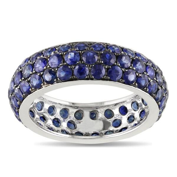 Miadora 14k White Gold Sapphire Pave Ring