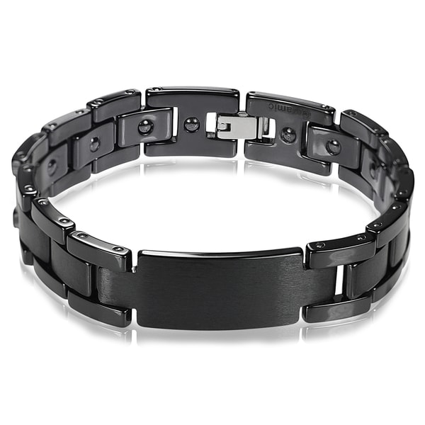 Vance Co. Ceramic Men's Brushed ID Bracelet