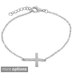 Journee Collection Sterling Silver Cubic Zirconia Cross Bracelet