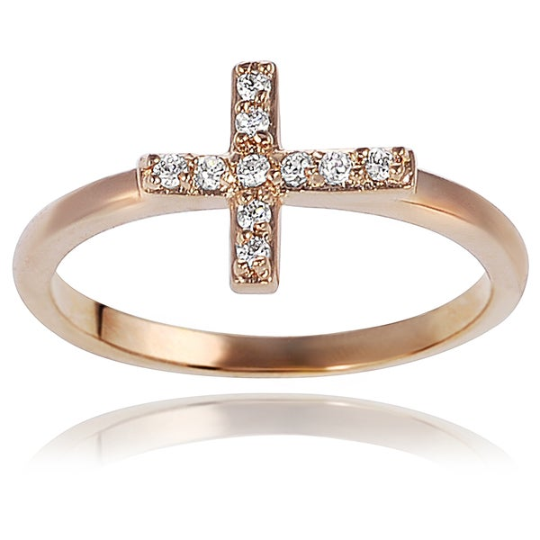 Journee Collection Gold Tone Sterling Silver Cubic Zirconia Cross Ring