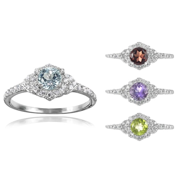 Journee Collection Sterling Silver Gemstone Bridal-style Ring